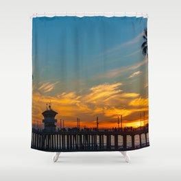 Palm Framed Huntington Beach Pier Shower Curtain