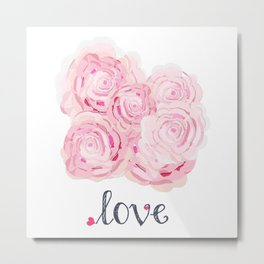 Shabby Chic Rose Bouqet Metal Print