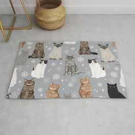 Cat breeds snowflakes winter cuddles with kittens cat lover essential cat gifts Rug