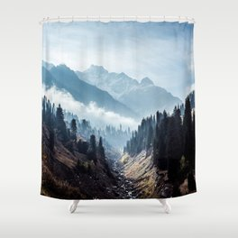 VALLEY - MOUNTAINS - TREES - RIVER - PHOTOGRAPHY - LANDSCAPE Shower Curtain
