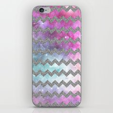 silver glitter galaxy chevron iPhone & iPod Skin
