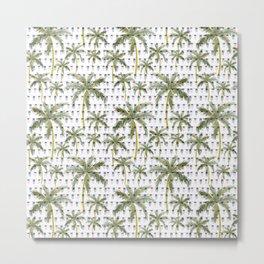 Coastal Christmas Palm Trees with Lights Metal Print