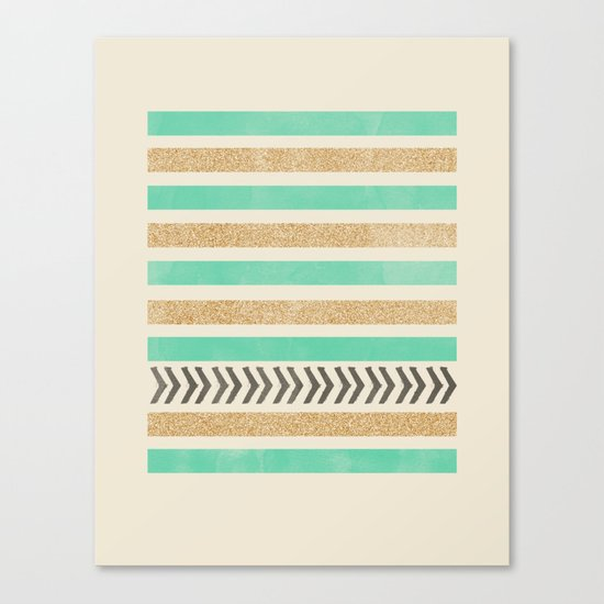 MINT AND GOLD STRIPES AND ARROWS Canvas Print
