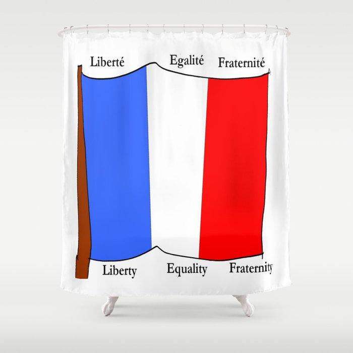 Flag of France III- France, Français,française, French,romantic,love,gastronomy Shower Curtain