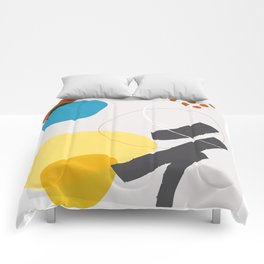 Shape & Hue Series No. 1 – Yellow, Orange & Blue Modern Abstract Comforters