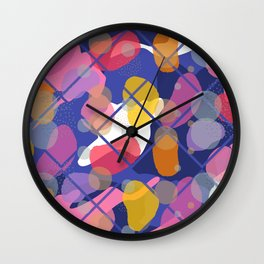 Retro Abstract Multicolored 80s Blue Memphis Pattern Wall Clock