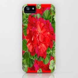 Decorative Red Flower Geraniums Green Leaves Abstract iPhone Case