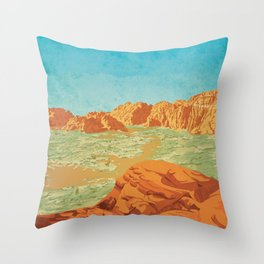 St George, Utah - Vintage Style Travel Poster Throw Pillow
