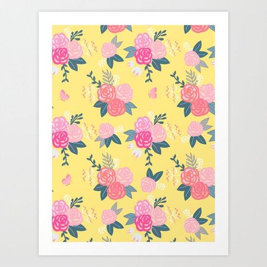 Sweet Roses on Yellow Art Print