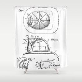 Firemans Helmet Patent - Fire Fighter Art - Black And White Shower Curtain