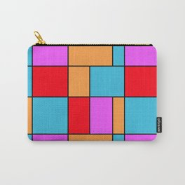 An abstract geometric pattern . Cage orange , blue , red . Carry-All Pouch