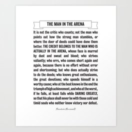 Man in the Arena Quote Theodore Roosevelt Art Print
