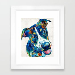 Colorful Dog Art - Happy Go Lucky - By Sharon Cummings Framed Art Print