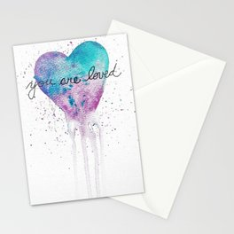 Watercolor Love Heart Stationery Cards