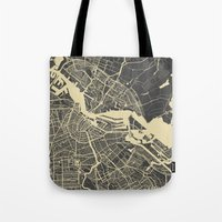 amsterdam Tote Bags featuring Amsterdam by Map Map Maps