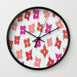 Celebration Flowers and Dots Wall Clock
