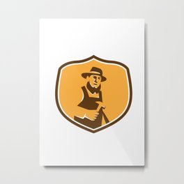 Amish Carpenter Holding Hammer Crest Retro Metal Print