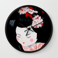 geisha Wall Clocks featuring Geisha by Maripili