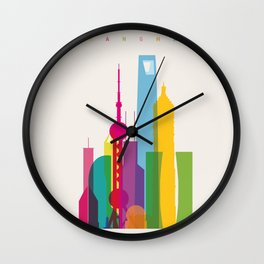Shapes of Shanghai. Accurate to scale Wall Clock