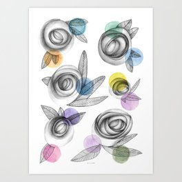 carbon roses and colordots Art Print