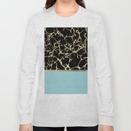 Elegant black teal faux gold modern marble Long Sleeve T-shirt
