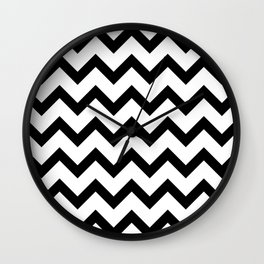 Simple Black and white Chevron pattern Wall Clock