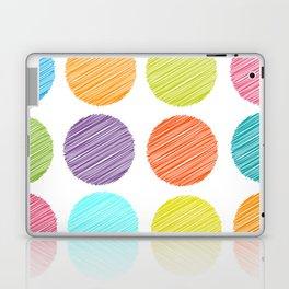 rainbow color Polka dot background. scribble dot on white Laptop & iPad Skin