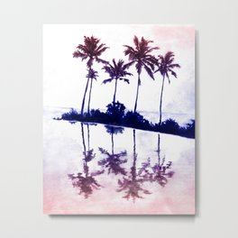 Palm Tree Reflections Sunset Metal Print