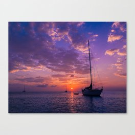 Sailboats at sunset in Roatan Canvas Print
