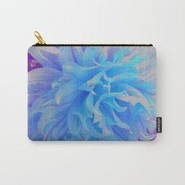 Elegant Blue Decorative Dahlia Flower Carry-All Pouch
