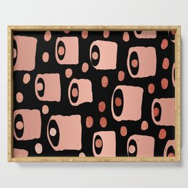 Blob Dot black and metallic copper abstract minimal painting art print decor Serving Tray
