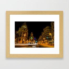 Gran Via at Night Framed Art Print