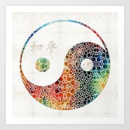 Yin And Yang - Colorful Peace - By Sharon Cummings Art Print