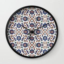 Iznik Pattern Red Blue White Wall Clock