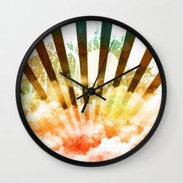 Rainbow rising sun Wall Clock
