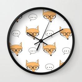 cute cartoon fox face with eyeglasses Wall Clock