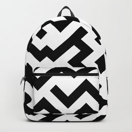 Black and White Diagonal Labyrinth Backpack