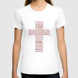 Unto Us - Cross Scripture RED T-shirt