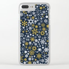 A Thousand Snowflakes in Twilight Blue Clear iPhone Case
