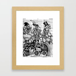 Calavera Cyclists   Skeletons on Bikes   Day of the Dead   Dia de los Muertos   Black and White   Framed Art Print