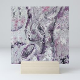Saxophones, purple duet, classical music, musical instrument, love, soft gentle original oil painting by Luna Smith Mini Art Print