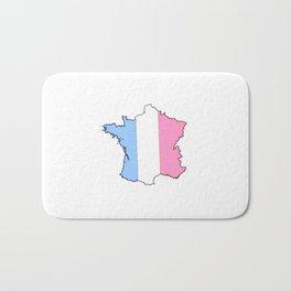 Parody of the french flag 4-France,Paris, pink, Marseille, lyon, Bordeaux,love, girly,fun,idyll,Nice Bath Mat