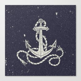 Navy Blue Nautical White Anchor for Sailor Texture Canvas Print