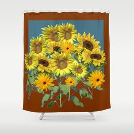 COFFEE BROWN-TEAL SUNFLOWER FIELD Shower Curtain