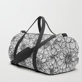 Dahlia in black and white Duffle Bag