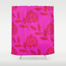 Monstera Leave Red In Red Pattern Shower Curtain