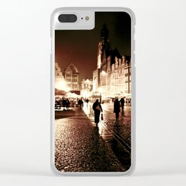 Wroclaw by night 3 Clear iPhone Case