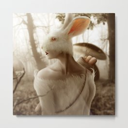 01 Dreamy Bunny in the Mushroom Forest Metal Print