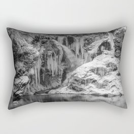 Black and White Frozen Bled Gorge Waterfall Rectangular Pillow