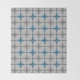 Mid Century Modern Star Pattern Grey and Blue Throw Blanket